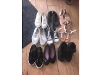 9 PAIRS SHOES, PUMPS, BOOTS, All sz 7 except boots which are 6, some new, all to go together