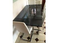 Stunning Dark Smoked Glass Table with 4 White Real Leather Chairs