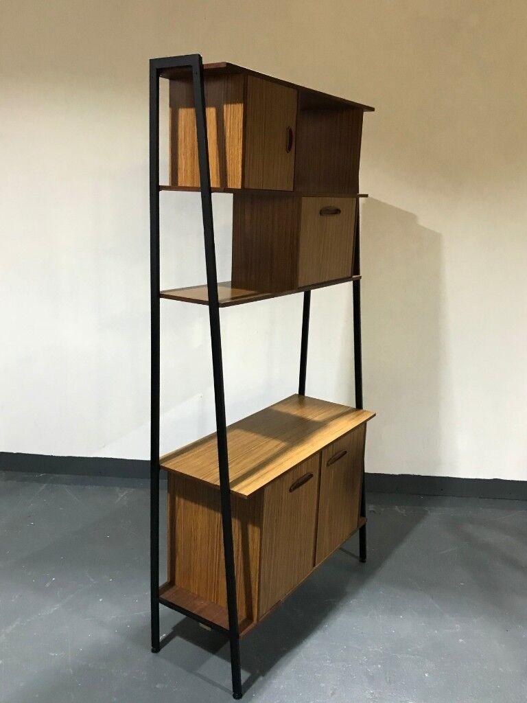 Vintage retro 3 tier shelving storage bookcase wall unit room divider