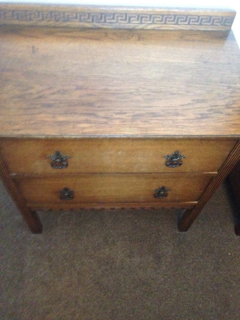 Antique Oak Chest of 2 Drawers