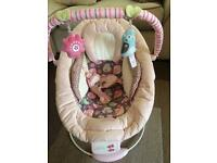Bright stars comfort and harmony pink vibrating baby chair