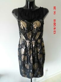 Coast Chloe Jacquard Dress Gold Foiled Floral/Leaf Size UK 10 Brand New With Tags