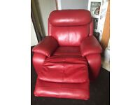 Red leather sofa and chair