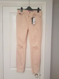Womens SUPERDRY pale pink skinny jeans