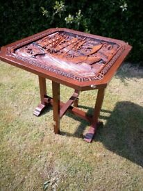 vintage fold down hand carved oriental coffee table