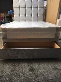 New 4ft6 double velvet bed with end drawer free delivery