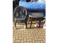 Free plastic table and (4) chairs. Dark green.