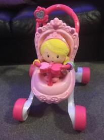 Excellent condition fisher price pink pushchair walker and dolly, ideal Xmas pressie