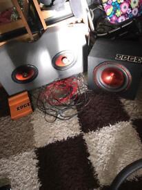 Edge subwoofer, amplifier + speakers