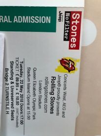 Rolling stone pair tickets 22nd May standing