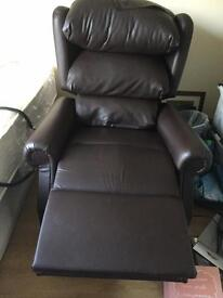 Leather brown recliner