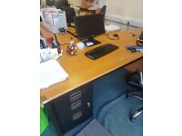 Straight office wood effect desks 1600MM Office workstations