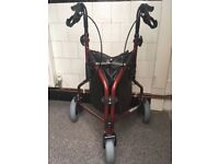 3-wheeled lightweight walker (with bag) in excellent condition