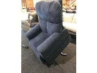 As new navy fabric lift-recliner armchair