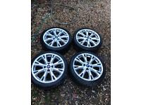"17"" 4x108 Ford Fiesta Ecoboost Silver Alloy Wheels With Tyres Zetec St Mk 7 8"