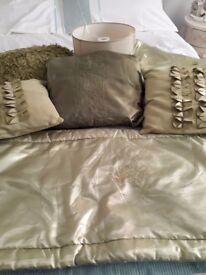 cushions/bed runner/light shade