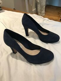 Gorgeous blue, suede-like heels, clarks, size 37 / UK 4