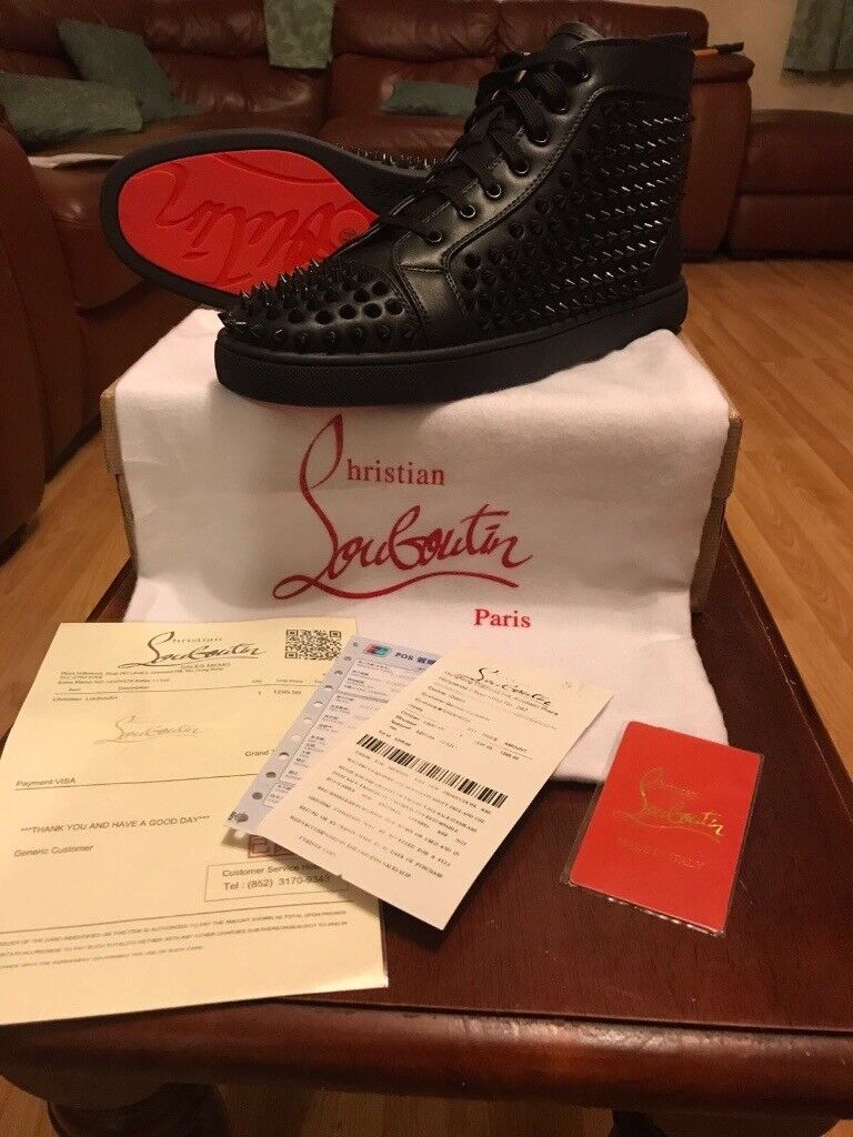 Christian Louboutin Leather Hightop Spiked Trainer Brand new in box Loubs Red bottom