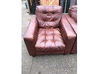 3 seater and single chair brown leather