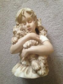 GIRL with DOG STATUE FOR SALE