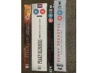 Penny Dreadful Series 1,2 and 3, Merlin Series 5, Peaky Blinders Series 1,2 and 3