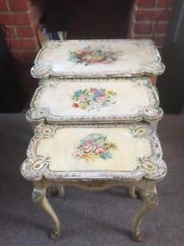 Antique Florentine side tables.