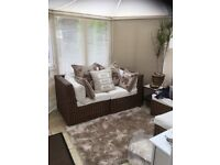 Combination conservatory furniture - two seater and two chairs coffee table all with storage