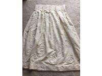 One pair cream linen handmade lined curtains