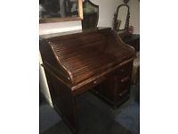 Superb Lockable Antique Solid Oak Knee Hole Roll Top Writing Desk