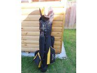 Ripper II golf clubs and bag