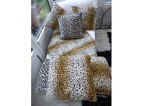 Animal print velour Cushions and throw