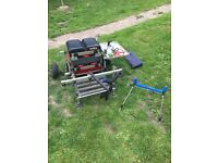 Milo pole fishing seat box, including tackle and accessories
