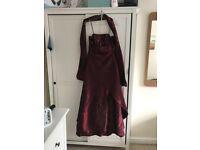 Burgundy 3xs prom dress with shawl