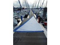 Yacht loose footed mainsail.