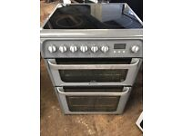 Hotpoint HUE61 60cm Double Electric Cooker in Silver #3768