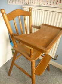HIGH CHAIR - Solid Wood Design with adjustable tray.