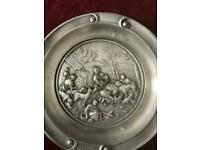 Vintage pewter wall plaque 8 inch wide