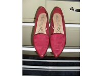 Size 5 Pointed Red Sued Effect Flats