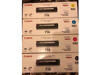 Full Set Genuine Brand New Sealed Canon 716 (Yellow Cyan Magenta Black) Toner Cartridge for iSensys