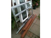 Alloy window with clear d/glazed glass and 2 top openers (hardwood outer frame)