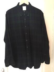 TM Lewin Blue & Green plaid long sleeve shirt Size XL