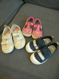 Clarks Doodles Toddler Size 6.5 F 3 pairs