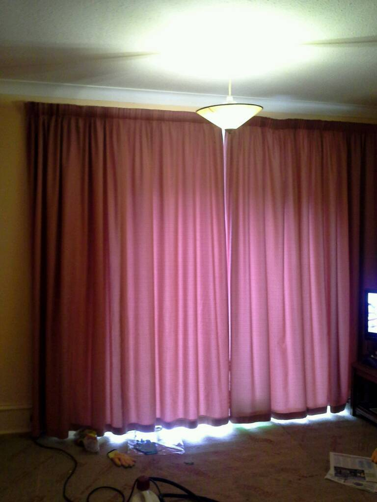 Large pair of dusky pink curtains