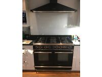 Falcon range oven and range master hood - 5 gas rings, 2 full size electric ovens and warming draw