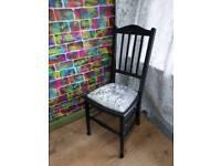 Black/glitter crushed velvet solid wooden chair