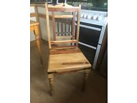 Solid oak cabinet and two matching chairs