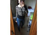 French Style Striped Black and Cream Body-fitting zipped jumper. Size 8. Great Condition