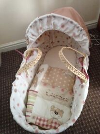 Clair de Lune Little Bear Moses Basket with Clair de Lune Rocking Stand in natural £30
