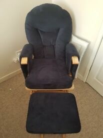 Nursery rocking chair and stool (dark blue), excellent condition, barely used.