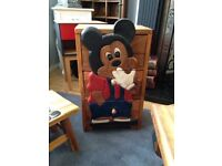 HAND MADE OAK MICKEY MOUSE PICNIC TABLE ,CHAIRS ,AND SMALL CHEST OF DRAWS VERY GOOD CONDITION